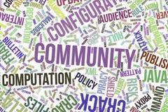 Comunidad, nube conceptual de la palabra para el negocio, tecnología de la información o las TIC stock de ilustración