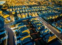 A comunidade aérea Austin Round Rock Texas da vizinhança do subúrbio Foto de Stock