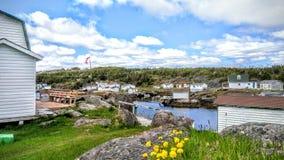 A comunidade da pesca da ilha de Bragg, Terra Nova Imagens de Stock