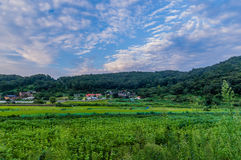 A comunidade de exploração agrícola sob um céu azul encheu-se com a nuvem branca inchado foto de stock royalty free