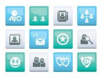 A comunidade de Internet e ícones sociais da rede sobre o fundo da cor ilustração do vetor