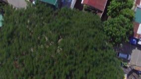 A comunidade desarrumado do alojamento nos subúrbios da cidade Tiro da antena do zangão filme