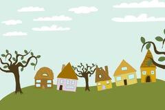 A comunidade pequena no monte ilustração royalty free