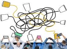 Comunique la conexión de la telecomunicación de la comunicación que llama C ilustración del vector