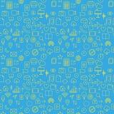 Comunique o teste padrão sem emenda do ícone em uma ilustração azul do fundo Fotos de Stock Royalty Free