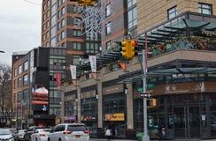Comunità asiatica della vicinanza dei ristoranti della via del Queens New York di Flessinga immagini stock libere da diritti