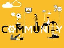 Comunità creativa e la gente di concetto di parola che fanno le attività tecniche illustrazione di stock