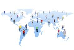 Comunità del mondo con la mappa di mondo immagini stock