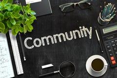 Comunità sulla lavagna nera rappresentazione 3d Fotografia Stock Libera da Diritti