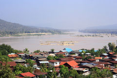 Comunità tailandese sul Mekong Fotografia Stock