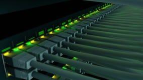 Comute com 48 portos em um close-up da cremalheira do servidor video estoque