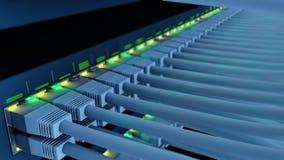 Comute 48 portos em um laço do close-up da cremalheira do servidor video estoque