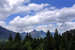Coníferas e picos no Byway de Beartooth Imagens de Stock