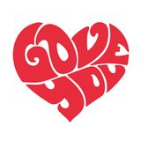 Con affetto lettere rosse del cuore Fotografia Stock