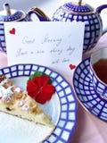 Con amore prima colazione servita Fotografie Stock Libere da Diritti