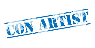 Con artist blue stamp Royalty Free Stock Images