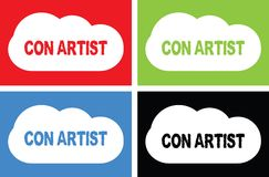 CON ARTIST text, on cloud bubble sign. Royalty Free Stock Photos