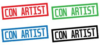 CON ARTIST text, on rectangle border stamp sign. Stock Image