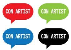 CON ARTIST text, on rectangle speech bubble sign. Stock Photo