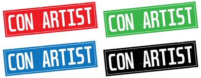 CON ARTIST text, on rectangle stamp sign. Royalty Free Stock Photography