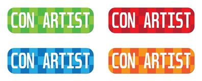 CON ARTIST text, on rectangle, zig zag pattern stamp sign. Stock Images