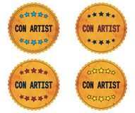 CON ARTIST text, on round wavy border vintage, stamp badge. Royalty Free Stock Image