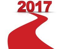 2017 con cancella con una riga rossa il fondo bianco isolato Fotografie Stock Libere da Diritti
