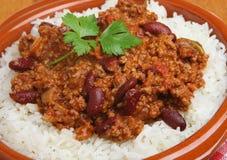 Τσίλι Con Carne με το ρύζι Στοκ φωτογραφίες με δικαίωμα ελεύθερης χρήσης