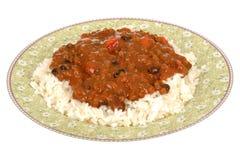 Μεξικάνικα τσίλι Con Carne ύφους με το ρύζι Στοκ Εικόνες