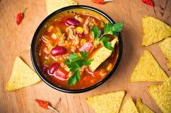 Μεξικάνικη σούπα με τα tacos Στοκ εικόνες με δικαίωμα ελεύθερης χρήσης