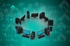 Con computer personale Immagine Stock