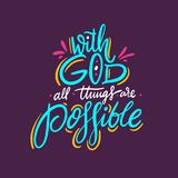 Con dios todas las cosas son posibles Cita dibujada mano de las letras Aislado en fondo p?rpura stock de ilustración