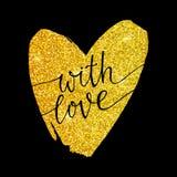Con el amor - letras en un corazón del brillo del oro Fotos de archivo