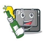 Con el botón del alt de la historieta de la cerveza en la tabla stock de ilustración