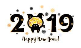 2019 con el cerdo amarillo ilustración del vector