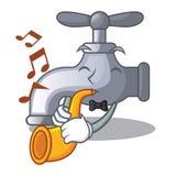 Con el golpecito de agua de la trompeta en el carácter stock de ilustración