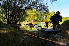 Con el kajak en el delta de Danubio, Rumania Foto de archivo