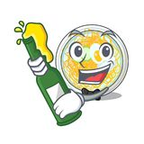 Con el naengmyeon de la cerveza en la historieta de la forma de a ilustración del vector