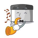Con el raspador de los pasteles de la trompeta en la tabla de madera de la mascota ilustración del vector