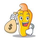 Con estilo de la historieta del carácter del anacardo del bolso del dinero Imagenes de archivo