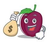 Con estilo de la historieta del carácter del ciruelo del bolso del dinero Foto de archivo libre de regalías
