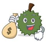 Con estilo de la historieta del carácter del Durian del bolso del dinero Fotografía de archivo libre de regalías