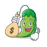 Con estilo de la historieta del carácter de los guisantes del bolso del dinero Foto de archivo libre de regalías