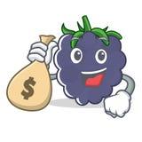 Con estilo de la historieta del carácter de la zarzamora del bolso del dinero Imagen de archivo