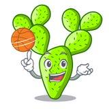 Con il cactus dell'opunzia di pallacanestro isolato sul fumetto del carattere illustrazione vettoriale