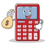 Con il fumetto sveglio del carattere del calcolatore della borsa dei soldi illustrazione vettoriale