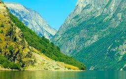 con il fuoco sul binocolo Montagne e fiordo in Norvegia Immagine Stock