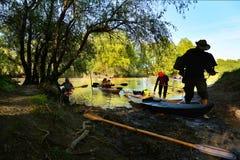 Con il kajak nel delta di Danubio, la Romania Fotografia Stock