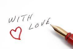 Con il messaggio di amore scritto a mano immagine stock
