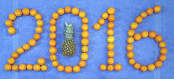 2016 con il nuovo anno del mandarino e dell'ananas Fotografia Stock Libera da Diritti
